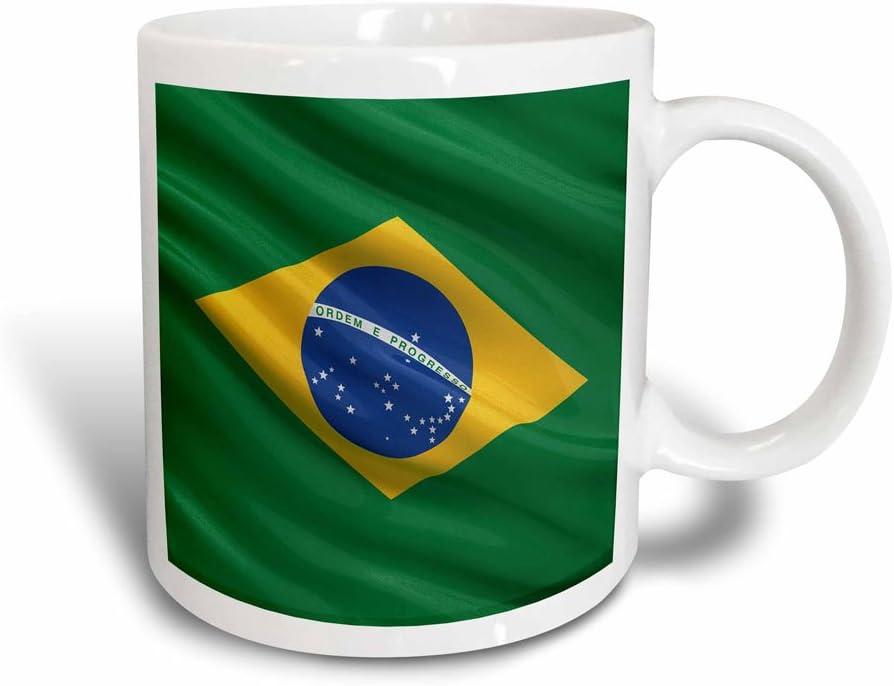3dRose Flag of Brazil Magic Transforming Mug, 11 oz, Black/White