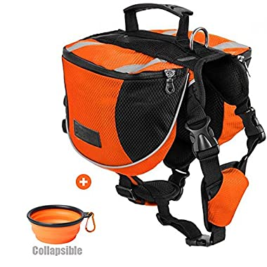 Lifeunion Polyester Dog Saddlebags Pack Hound Travel Camping Hiking Backpack Saddle Bag for Small Medium Large Dogs with Collapsible Pet Food Bowl (L, Orange+Bowl)