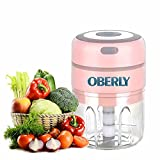 Vegetable Chopper, OBERLY Juicer, Electric Portable Mixer,Garlic Press, Meat Grinder, Multifunction With Battery 1500mAh, Food Processor For Fruit/Onions/Chili/Meat/Ginger/Nuts/Baby Food -8.5 oz