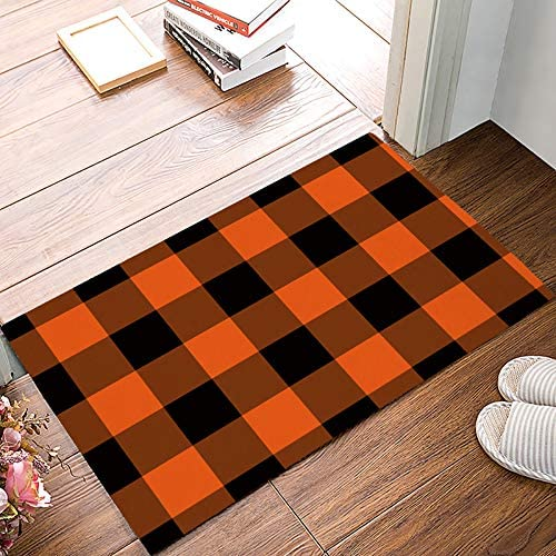 Amazon Com Funkyhome Halloween Plaid Doormat Entrance Mat Orange Black Buffalo Check Welcome Floor Mats Indoor Entryway Rugs For Bathroom Front Kitchen Bedroom Non Slip Rubber Backing 23 6x15 7inch Home Kitchen