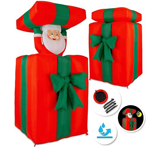 Kesser® Aufblasbarer Weihnachtsmann Geschenk Nikolaus 152cm Groß Springt-aus-der-Box Weihnachten LED Beleuchtet Deko inkl. Befestigungsmaterial Weihnachtsdekoration Weihnachtsdeko