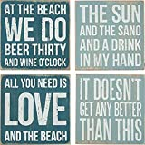 """Primitives By Kathy Square Drink Coaster Set, 4"""", Beach"""