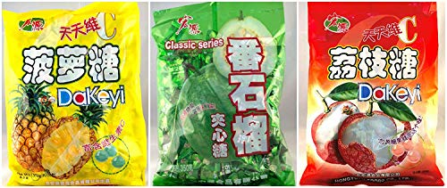 Hong Yuan Pineapple Guava Lychee Candy 3 Pack Bundle 12.3 oz Dakeyi