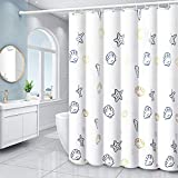 XEUYUTR Shell Shower Curtains, Waterproof Fabric Shower Curtain with 12 Hooks, Decorative Curtains for Bathroom Hotel Quality(72In x 72In, White)