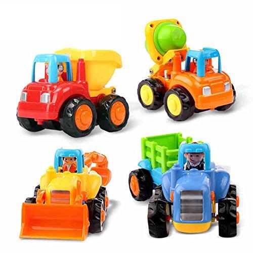 Huile Early Education Juguetes para niños de 18 Meses + (4 Elementos: Tractor, raspador, hormigonera y camión con volquete)