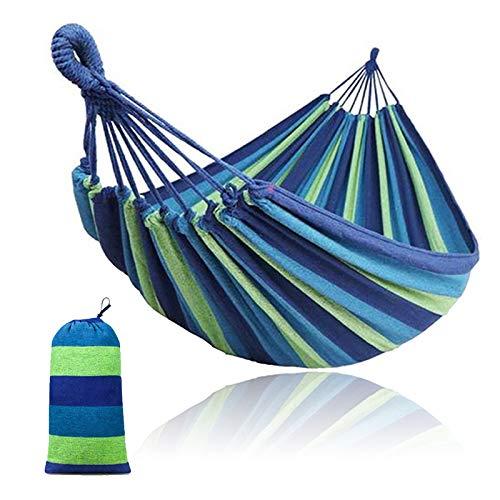Dyna-Living Double Hammock 260cm Long 190 x 150 cm Cotton Canvas Hammock Swing 2 Person,Outdoor Camping Garden Yard Beach Capacity 660 LBS(Green Blue Stripes)