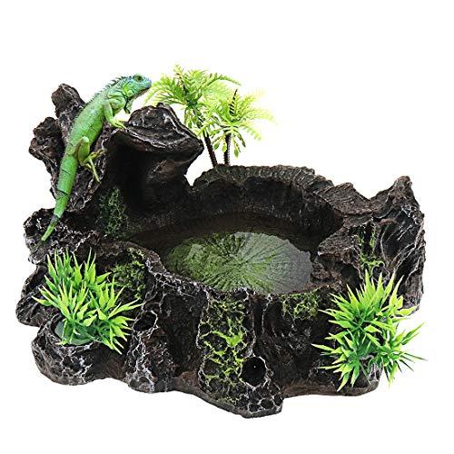 Xiaoyztan Rock and Tree Designed Resin Reptile Platform Food Bowl Habitat Decoration Terrarium Ornament