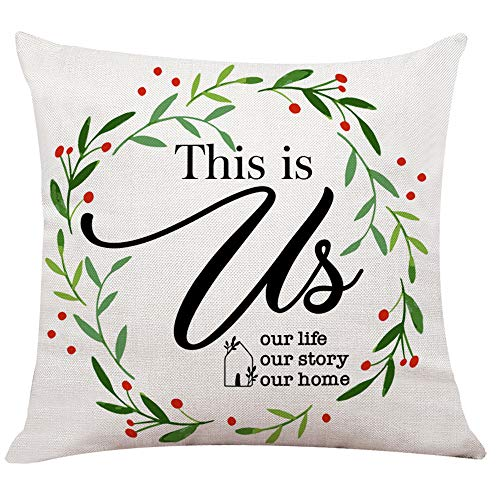 "Ihopes Farmhouse Pillow Covers - This is Us Pillow Case Cushion Cover for Sofa Couch Living Room Home Decor Gifts - Best Housewarming Gifts(18""x 18""Inch)"