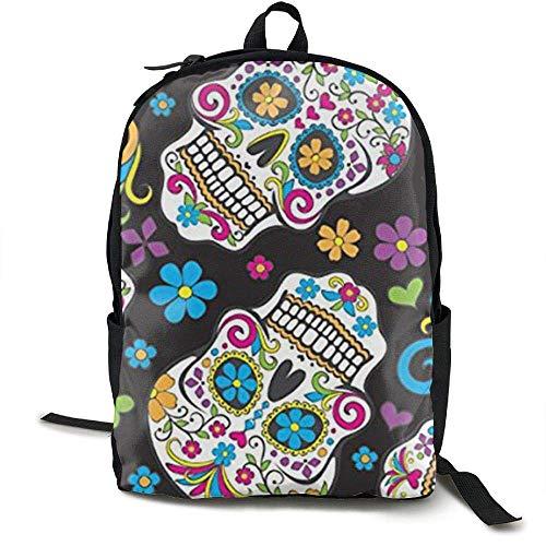 Mochila para portátil Sugar Skulls Black Computer Bag Mochila para Escuela universitaria Mujeres Hombres