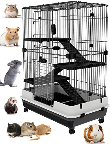 Large Indoor Small Animal Pet Habitat Hutch Cage Playpen Guinea Pig Ferret Chinchilla Rabbit Bunny Cat Kitten With Solid Platform and Ramp, Leakproof Litter Tray (0.5-Inch Wire Spacing, 4-Floor)