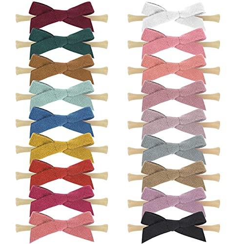 18PCS Baby Nylon Headbands Hairbands Hair Bow Elastics for Baby Girls Newborn Infant Toddlers Kids Babie hair Accessories bow (9.5cm, White)