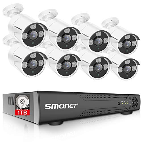 【16CH Expandable】 SMONET Security Camera Systems,5-in-1 5MP Camera System Outdoor(1TB Hard Drive),8pcs 1080P P66 Weatherproof Home CCTV Cameras,DVR Kits for Easy Remote,Night Vision,Smart Playback