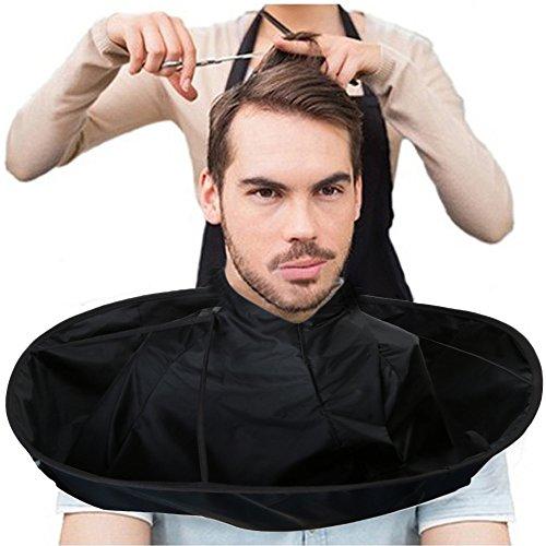 ODJOY-FAN Haarschneideumhang Schulter Cape Umhang verstellbar DIY Haare schneiden Mantel Regenschirm Kap Salon Friseur Coiffeur Zuhause Stylisten (Schwarz, 1PC)