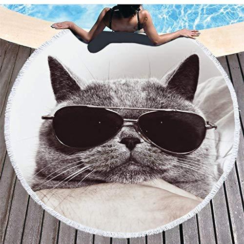 GermYan Toalla de Playa de algodón para Gatos Toalla de Playa Grande Toalla de Playa Toalla de Playa Redonda Toalla de baño para Adultos