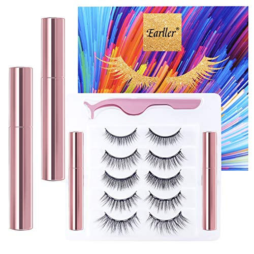 EARLLER Magnetic Lashes 5 Pairs Magnetic Eyelashes with Eyeliner Kit, Natural Look False Lashes with Applicator - Easy to Apply and No Glue Needed, 3D & 5D Reusable Short and Long Eyelashes Set