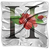Mixed Designs Silk Square Scarves Bandana Scarf, Hibiscus Design Green Leaves Vibrant Color Flower Natural Pattern Print,Womens Neck Head Set