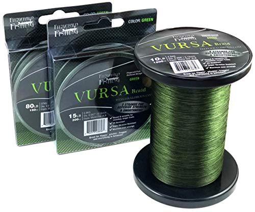 Fitzgerald Fishing Vursa Braided Fishing Line - The 8 Strand, Longer Casting, Fade Resistant Freshwater and Saltwater Fishing Line - Green