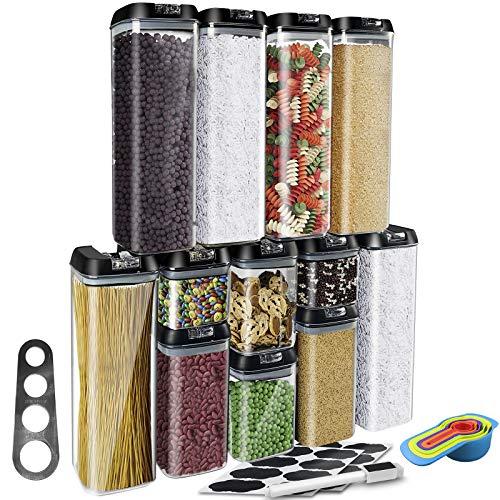 AYAOQIANG Contenitori Alimentari Contenitore Plastica con Coperchio per Cereali, Avena, Pasta, Cheerios, Noci, Senza BPA, Etichette, Misurini, Dosa Spaghetti (4 Dimensioni - 12 Pezzi)