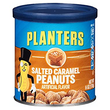 Planters Flavored Peanuts, Salted Caramel, 6 Ounce Canister (Pack of 8)