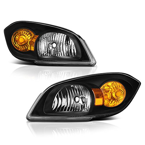 VIPMOTOZ Black Housing OE-Style Headlight Headlamp Assembly For 2005-2010 Chevy Cobalt & Pontiac G5, Driver & Passenger Side