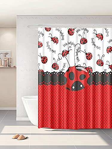 Abaysto Black and Red Little Ladybug Design Polyester Fabric Shower Curtain Sets with Hooks Waterproof Mildew Bathroom Decor