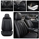 5-Seats Standard Leather Car Seat Covers Fit for KIARioNIROK5SoulForteSportageOptimaSorento,All Weather Waterproof Automotive Vehicle Cushion Cover (Black)