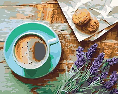 Chrissny DIY Farbe nach Zahlen für Erwachsene DIY Ölgemälde Kit für Kinder Anfänger 16x20 Zoll-Kaffee-Lavendel-Keks 40X50Cm