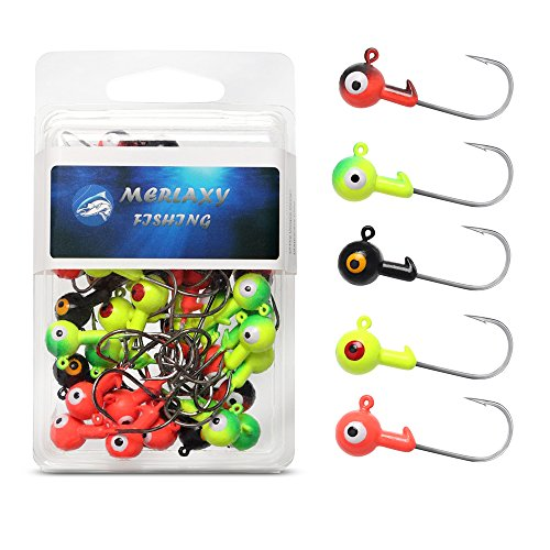 MERLAXY Fishing Lures Jig Heads with Double Eye Ball Head, Sharp Fishing Hooks for Bass Trout Freshwater,Saltwater Multi Pack (Assorted, 1/8 50Pcs)