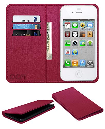 Acm Rich Leather Flip Wallet Front & Back Case Compatible with Apple iPhone 4 4s 4g 3 3gs Mobile Flap Magnetic Cover Pink