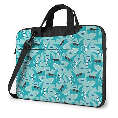 Laptop-Schultertasche – Elefantenbild bedruckt, stoßfest, wasserdicht, Laptop-Schultertasche, Hai mit Sonnenglas, 39,6 cm,