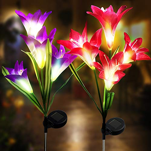Aogist Outdoor Solar Garden Stake Lights - 2 Pack Solar Powered Lights with 8 Lily Flower(Purple and Red)
