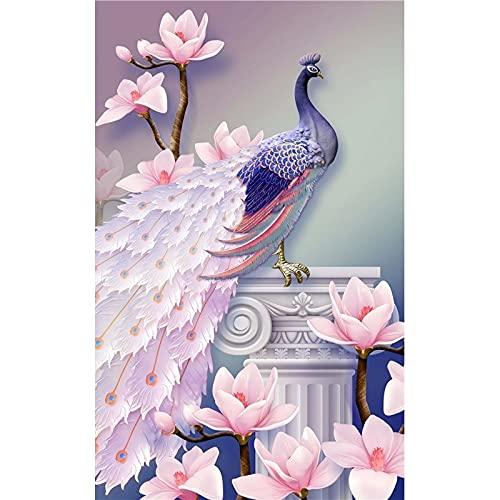DIY pavo real 5D pintura de diamante taladro redondo completo mosaico Diamont bordado Animal punto de cruz decoración del hogar regalo de Navidad A19 60x80cm