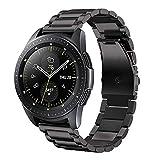 Correa Compatible con Huawei Watch GT/GT2 42mm/Honor Magic Watch 2 42mm/Samsung Galaxy Watch 42mm/Galaxy Watch Active 2 Correa Metal 20mm Acero Inoxidable Banda de Repuesto para Hombre/Mujer-Negro