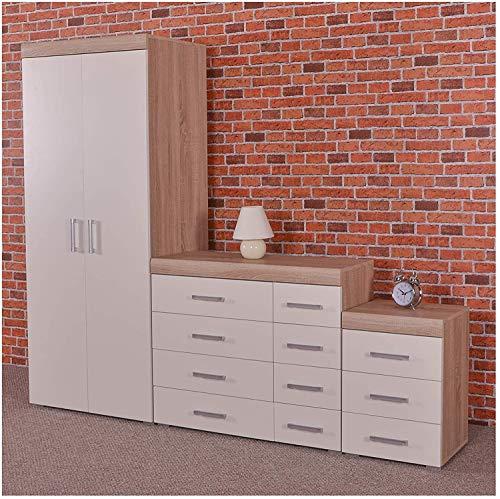 MMPTN Eiche Schlafzimmermöbel Kleiderschrank 4 4 Schubladen Und 3 Zeichnen Nachttisch,White