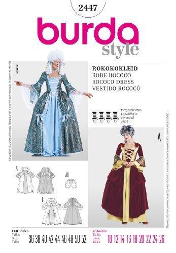 Burda 2447Marie Antoinette Rokoko Kleid Historisches (Gr. 38–54) Schnittmuster von Burda