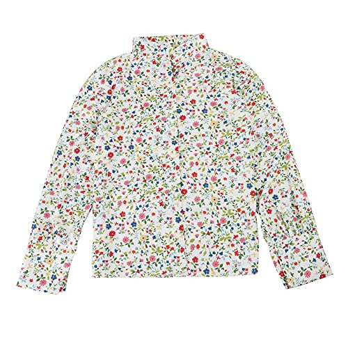 Lalaluka Oberteil Damen Langarmshirt Elegant Blumen Drucken Revers Frauen Bluse Tunika Top Sweatshirt Tshirt Hemdbluse Pullover