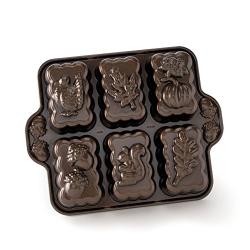 Nordic Ware Harvest Mini Loaf Pan, Bronze, 11.38 x 9 x 1.88 inches, Brown