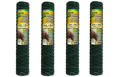 YARDGARD 308452B 2 Foot X 25 Foot 1 Inch Mesh PVC Coated Poultry Netting (Pack of 4)