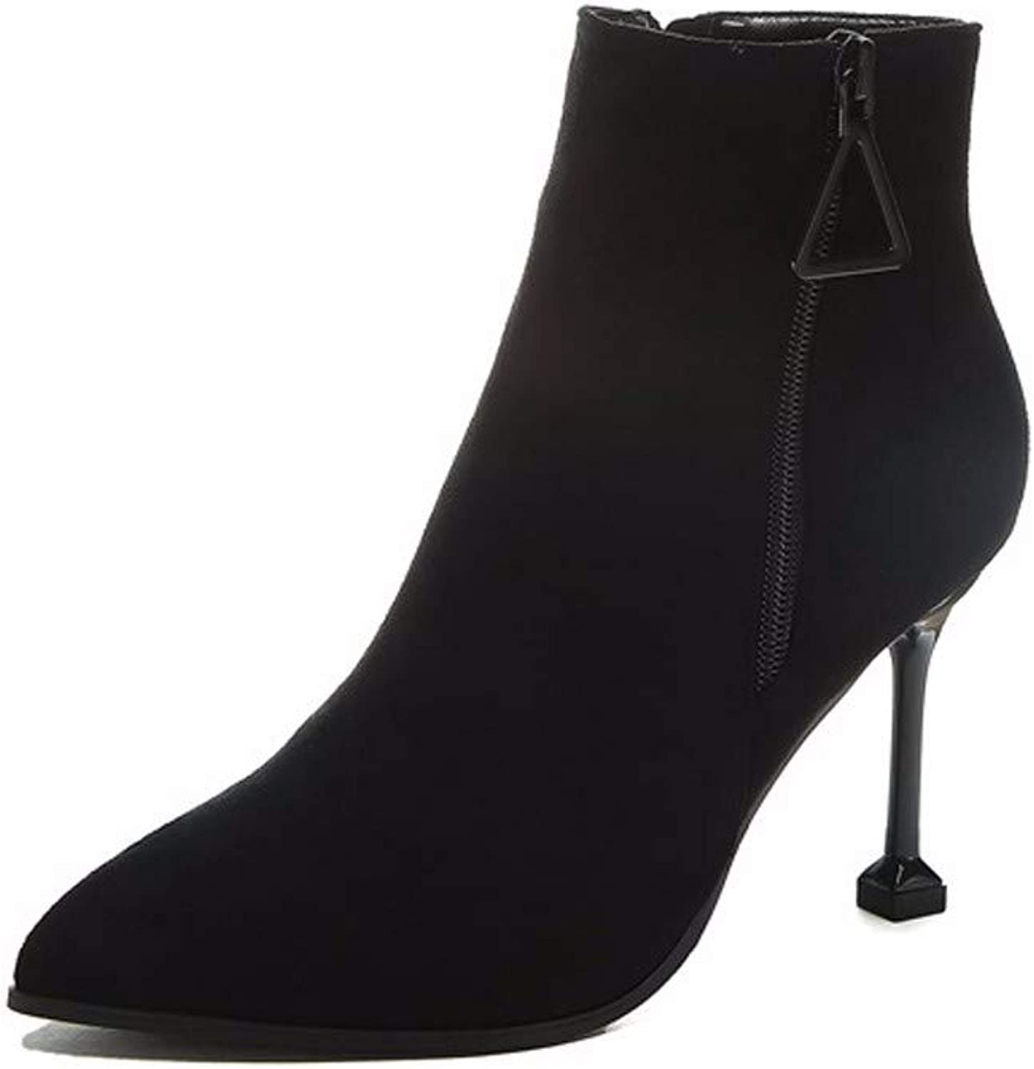 SFSYDDY Popular shoes Sexy Short Boots with High 9Cm Sharp Pointed Fine Heel Suede Zipper Short Tube Ma Dingxue.