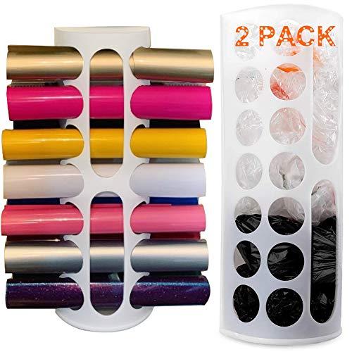 Lunies Paquete de 2 dispensadores de bolsas de plástico de gran capacidad, soporte de vinilo – Múltiples agujeros grandes para...
