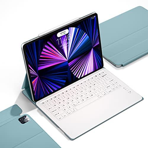 iPad Pro 12.9 キーボード ケース 第五世代 5G 2021/2020年モデル対応 Bluetoothキーボード 分離式 キーボード付き カバー 多角度調整 ワイヤレス オートスリープ ウェイク (青)