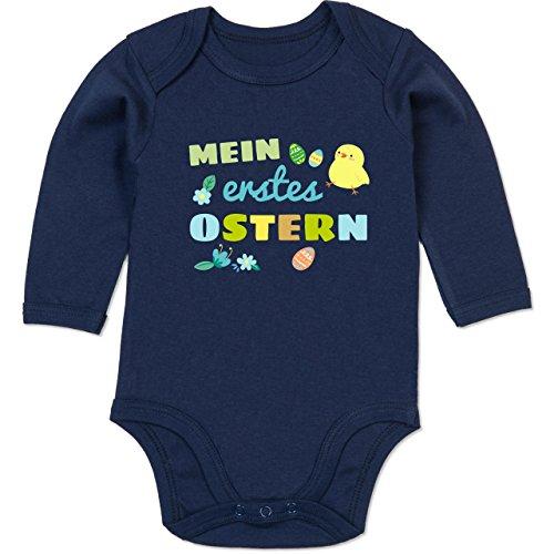 Shirtracer Shirtracer Ostern Baby - Mein erstes Ostern Junge - 3/6 Monate - Navy Blau - Geschenke für Babys Tante - BZ30 - Baby Body Langarm