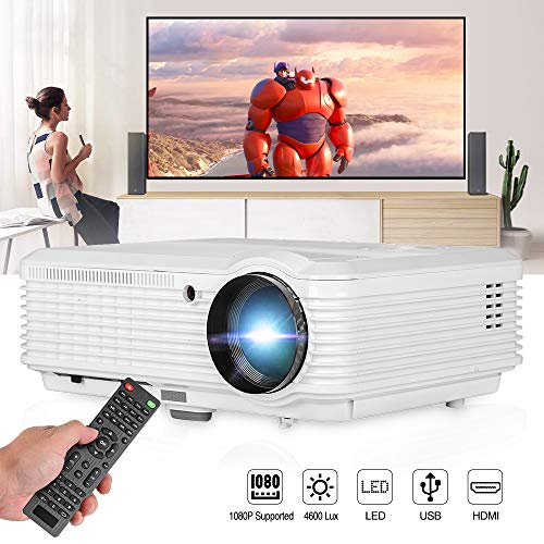 """CAIWEI HD 1080P Supported 4600 Lumen Video Projector, Multimedia Home Theater LCD Projectors Support 200"""" Display, with Zoom, Keystone, Built-in Speaker, HDMI, USB for Gaming Outdoor Movie Artwork"""