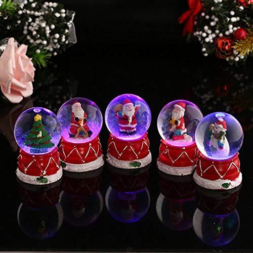 SKDHGFKAJSHJFKDHJK Globos de Nieve de Navidad Caja Musical de Santa con Copos de Nieve Bailando Bola de Cristal de...