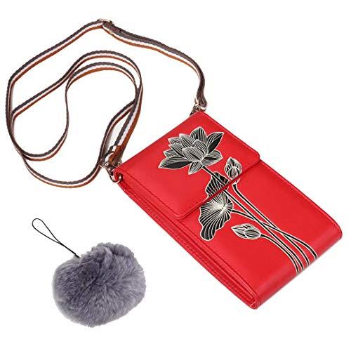 Flywill Dame Handy Umhängetasche PU Leder Schultertasche Kleine Tasche Lotus-Muster Geldbörse Handytasche mit Kartenfächer Verstellbar Schultergurt Passt Handy unter 6.5