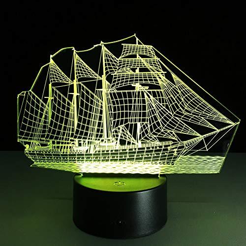 3D Retro Ancient Sailing Sea Boat Ship LED Lamp 7 Colors Changing Illusion Night Light USB Table Desk Decor Lighting