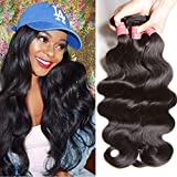 ALI JULIA Hair Malaysian Virgin Body Wave Hair Weft Cheap 100% Unprocessed Human Hair Weave Extensions Natural Black Color 95-100g/pc(14 16 18 Inch)