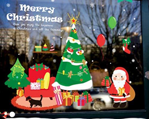 HENJIA La Etiqueta engomada de Cristal de la Puerta de la decoración de la Navidad, adorna el árbol de Navidad, Etiqueta engomada de la Ventana de la Tienda de Santa