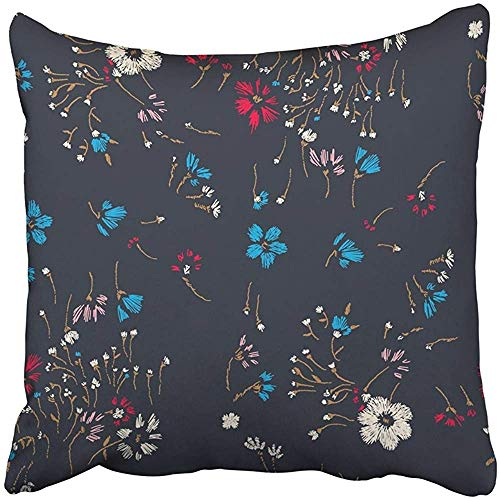 SSHELEY Kissenbezüge Cases Flower Field Herbs Daisy Dark Traditionelle Kamillenpflanze Floral DitsyPillowcases Kissenbezug