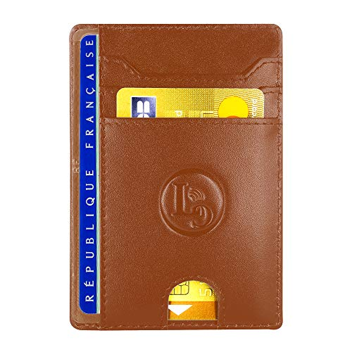 Porte Carte De Credit et Pièce Identité Minimaliste - Protection Cartes Bleue sans Contact - Petit Etui Cuir Slim Protege Contre Le piratage Bancaire - Portefeuille Mince Anti RFID - Idée Cadeau